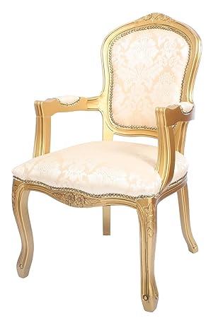Derrys Louis Estilo Antiguo francés sillón Oro Damasco ...
