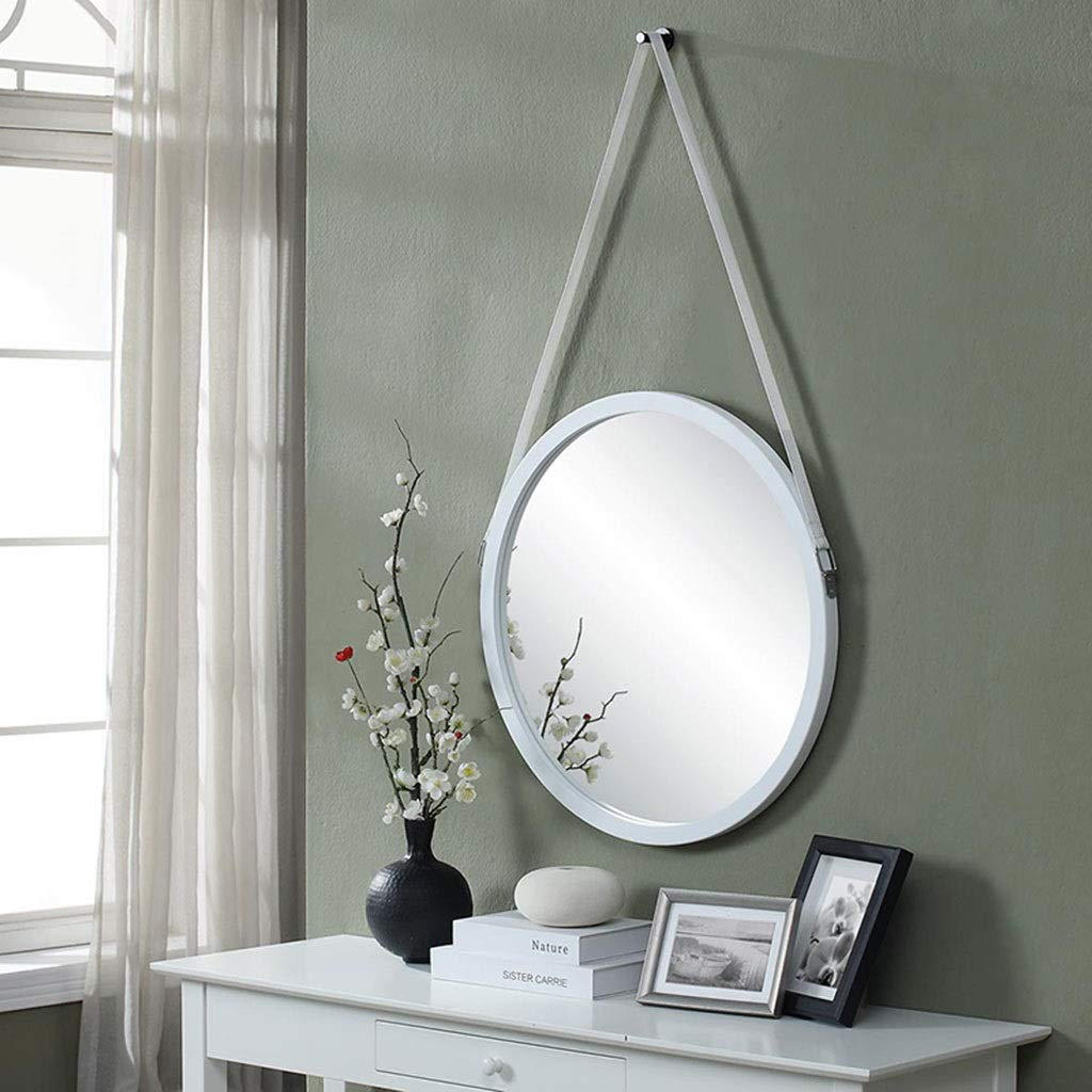 White 60cm RXY-mirror Simple Wall-Mounted Bathroom with Round Mirror, Dressing Make-up Mirror, Living Room Decoration Hanging Mirror (color   Black, Size   50cm)