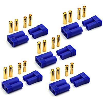 Que-T 5 Pairs EC5 Battery Connector Plugs,5mm Banana Plug Female Male Bullet Connector for RC ESC LIPO Battery Motor: Toys & Games