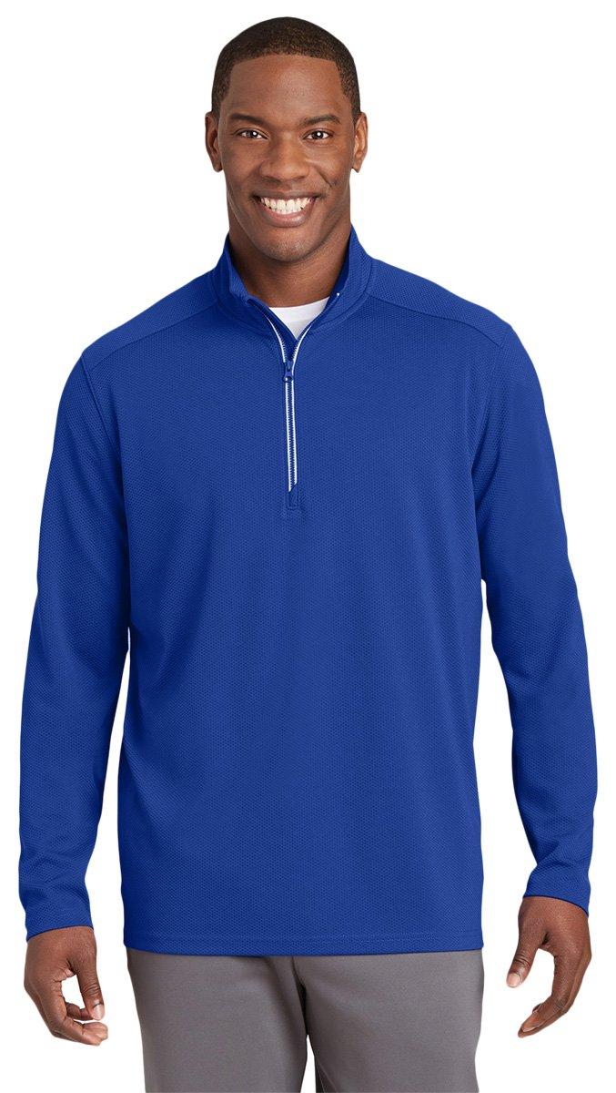 Sport-Tek Mens Sport-Wick Textured 1/4-Zip Pullover (ST860) -TRUE ROYAL -S