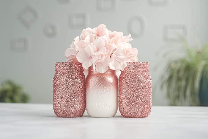Amazon com: 3 Rose Gold Vase Glitter Mason Jar Decor