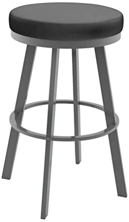 Amisco Swice Swivel Metal Counter Stool, 26-Inch, Magnetite