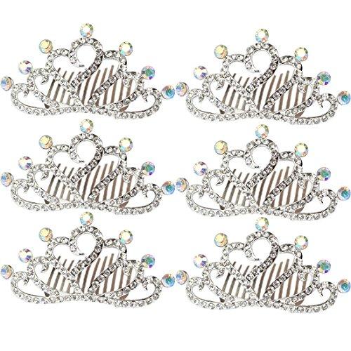 - kilofly 6pc Princess Party Favor Crown Crystal Rhinestone Tiara Hair Comb Clip