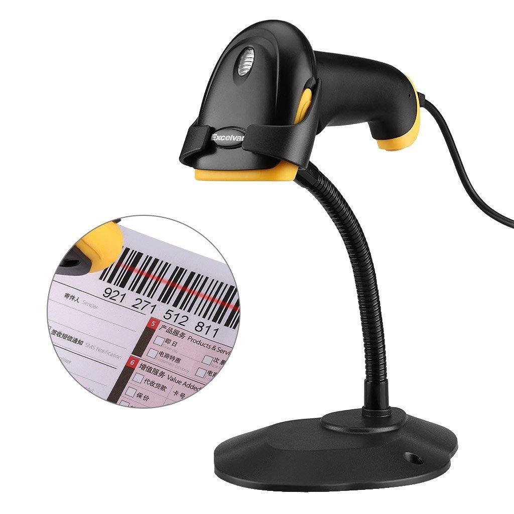 2.4 GHz Inal/ámbrico y USB con cable Color Negro Esc/áner l/áser de Codigo de Barras Excelvan Escaner Decodificador Lector