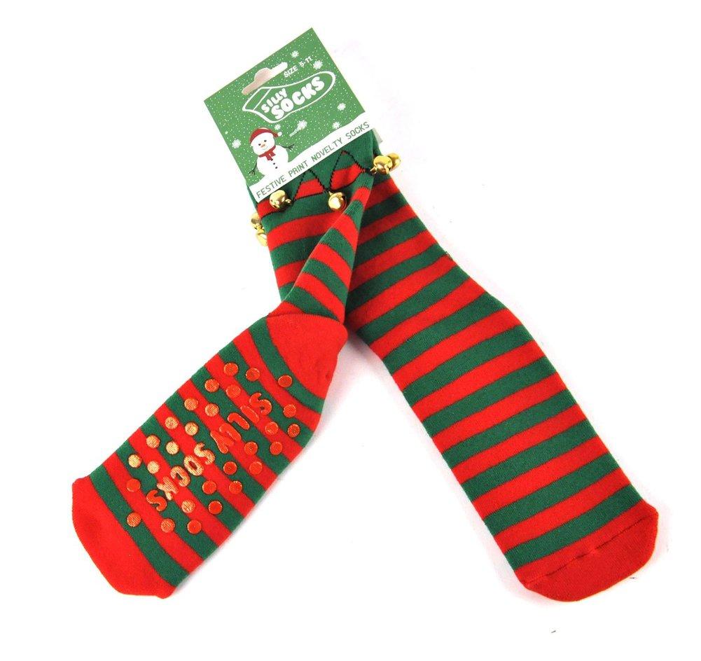 amazon com silly socks christmas slipper socks elf boot kitchen
