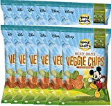 Sensible Portions Zesty Ranch Garden Veggie Straws, 7 oz & Disney Mickey Mouse Shaped Veggie Chips Children's Healthy Snacks 6.75 Oz (12)