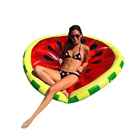 Missley Sandía gigante flotante piscina inflable de PVC piscina flotante cama de drenaje / anillos de