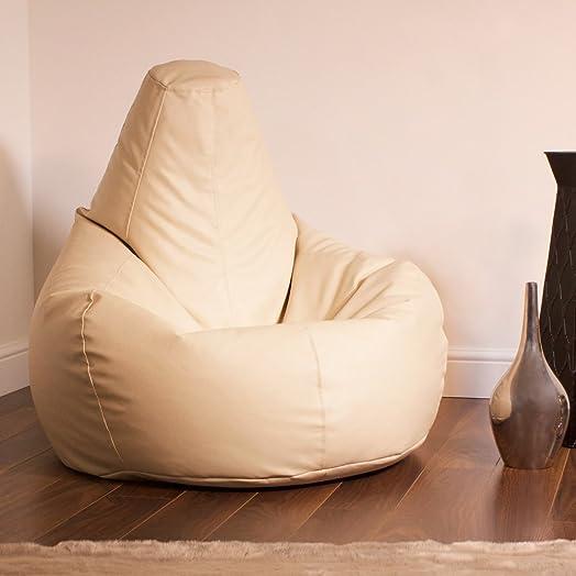Bean Bag BazaarR Gaming Designer Recliner CREAM Faux Leather