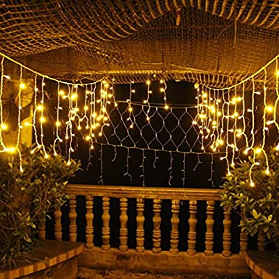 Icicle Lights Curtain String Lights-DOULINE Fairy String Lights,96LED,10.5ft/3.2M,30V Safe Voltage Output,Patio Lights for Christmas,Halloween,Wedding,Party Backdrops, UL Listed (Warm White)