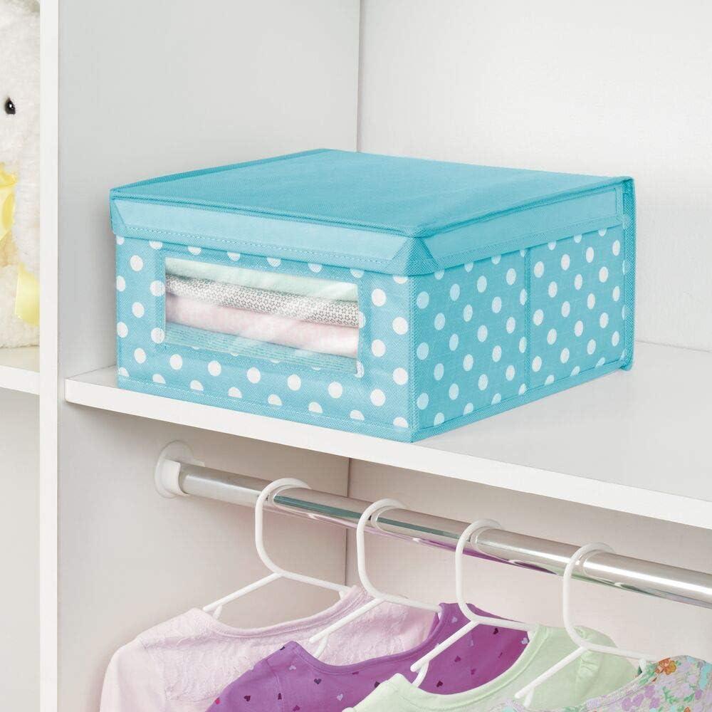 mDesign Juego de 6 Cajas organizadoras de Tela Lila Claro y Blanco Caja de almacenaje apilable para ordenar armarios Organizador de armarios con Tapa y ventanilla Ropa o Accesorios de beb/é