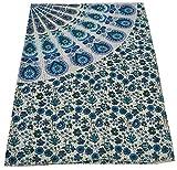 V Vedant Designs White Peacock Mandala Tapestry