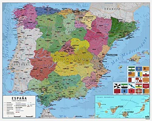 Grupo Erik Editores MPGE0219 - Mini póster mapa de España, 40 x 50 cm: Amazon.es: Oficina y papelería