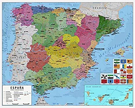 Grupo Erik Editores MPGE0219 - Mini póster mapa de España, 40 x 50 ...