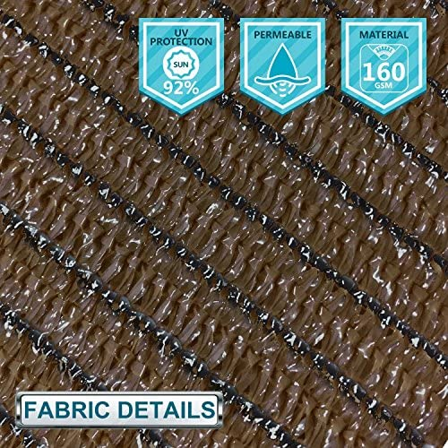 Coarbor 8Ft x 18Ft Shade Cloth Pergola Patio Cover Provide Shade Fabric Roll Mesh Screen Heavy Duty Provide Privacy Permeable UV Resistant Make to Order