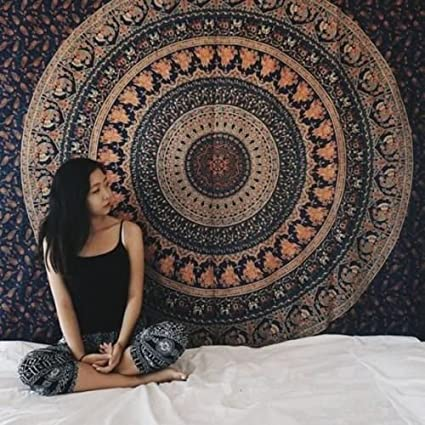 iwonder Indian Mandala Hippie Bohemian Throw Wall Hanging Cotton Single Bedspread Tapestry, Multicolour