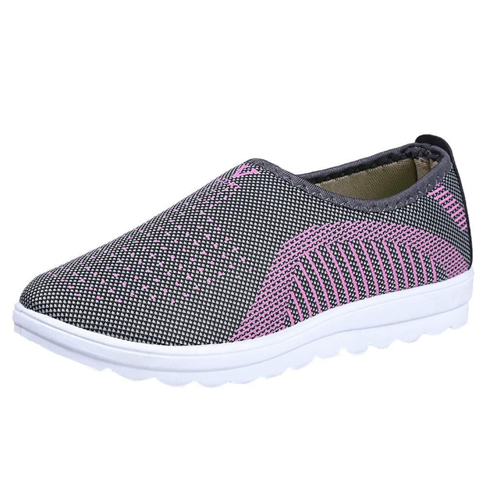 Tefamore Zapatillas de Deportivos de Running para Mujer Gimnasia Ligero Malla Algodó n Sneakers Zapatos Perezosos Rojo Gris Pú rpura Casual