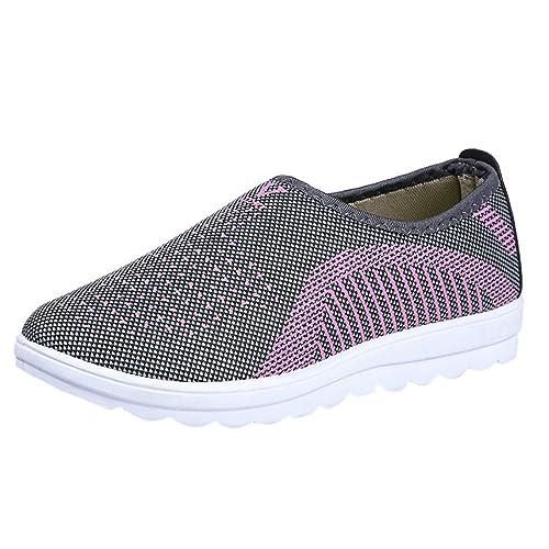 Zapatillas De Marcha NóRdica para Malla Plana para Mujer con AlgodóN Caminar A Rayas Ocasionales Mocasines Zapatos Suaves: Amazon.es: Zapatos y complementos