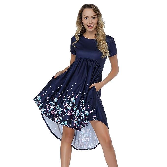 HUHHRRY Vestido Corto Mujer Casual Top Falda Floral Print para Fiesta O Casual con Manga Corta