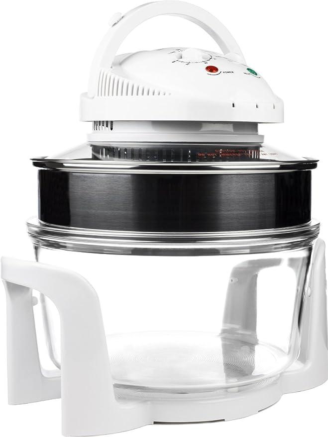 Horno halógeno Premium de 1400W y 17 litros - Completado con anillo del suplemento (hasta 17 litros), rejilla superior, rejilla inferior, bandeja de horno, ...