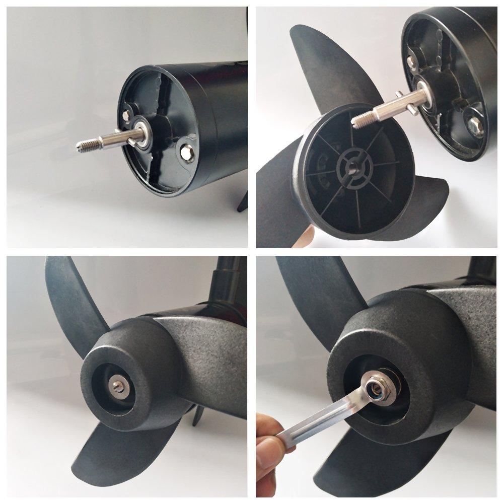 U-BCOO Propellers Electric Outboard Motor Prop for 55lb 86lb Trolling Motors Mount Accessories//Boat 3-Blades Black 62lb