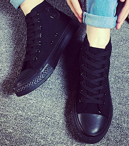 Popuus Trendy High-top Canvas Sneakers Voor Heren Black2