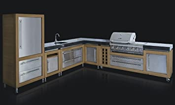 ingarden outdoor kitchen l shaped oak stainless steel granite rh amazon co uk Outdoor Kitchen Sink Cabinet DIY Outdoor Kitchen Sinks