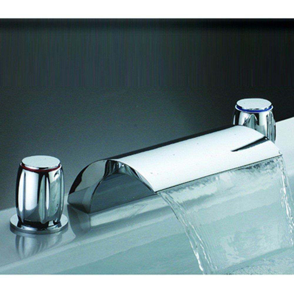 JiaYouJia 4 Colour Changing LED Waterfall Bath Tub Mixer Tap 2 ...