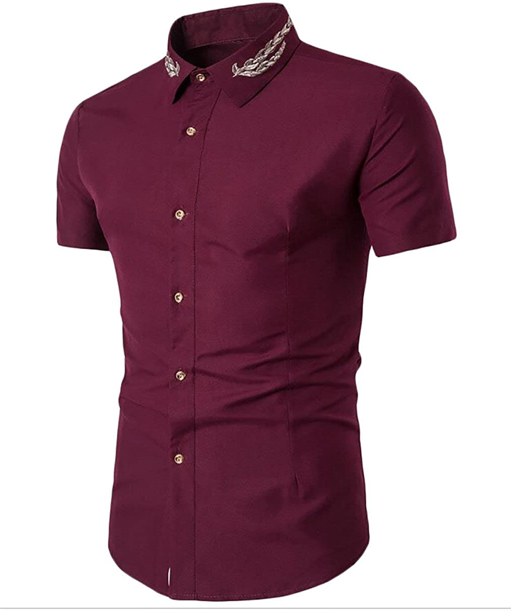 Qiangjinjiu Mens Short Sleeve Turn Down Collar Fashional Solid-Colored Slim Fitted Shirt
