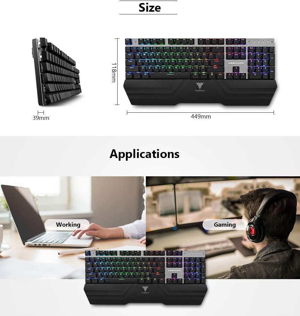 DADUIZHANG Profession Game Mechanical Keyboard Blue Switch Wireless Keyboard RGB Backlight,Black