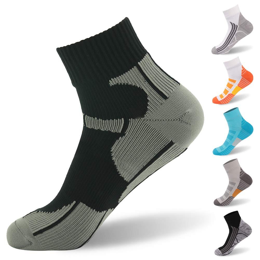 Ankle Socks, [SGS Certified]RANDY SUN Men's Nylon Soft Comfortable Waterproof Socks For Outdoor Activities Black & Gray Medium by RANDY SUN