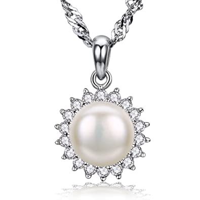Fzeni women necklace silver pearl pendant 925 sterling silver fzeni women necklace silver pearl pendant 925 sterling silver sparkle cubic zirconia women jewellery mozeypictures Image collections