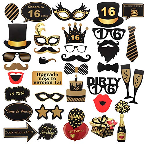 36 Pcs 16th Birthday Photo Booth Props Sign Kit - Sixteen Years Old Birthday Party Selfie Props - Sweet 16 Speech Bubbles Decoration (Sweet 16 Party Supplies Boy)