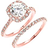 10k Rose Gold 3 Carat CZ Solitaire Halo Proposal Engagement And Wedding Ring Set