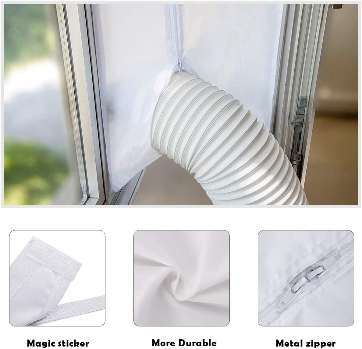 300CM Universal Window Seal for Portable Air Conditioning Unit And Dryer with Tape and Zipper Design No Need For Drilling Holes Uong Window Seal Air Conditioning Easy to Install