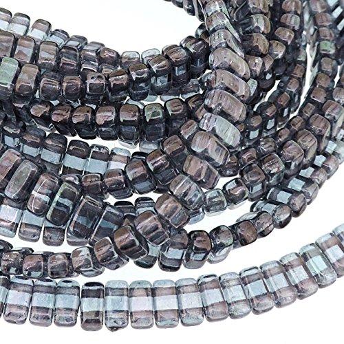 (Czechmate 2mm X 6mm Brick Glass Czech Two Hole Bead - Luster Transparent Amethyst (50 beads))