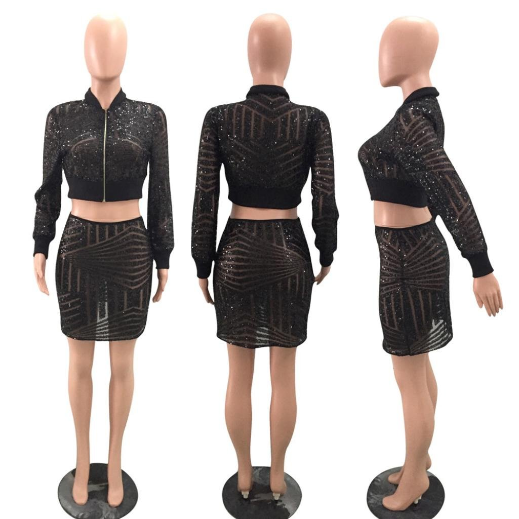 cbacf4e0e3 Amazon.com: Sunward Women's Long Sleeve Zip Crop Top Midi Skirt Seguins  Club Dresses Two Piece Set: Clothing