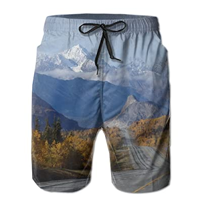 Men's Shorts Swim Beach Trunk Summer White Mountains Road Athletic Classic Shorts With Pockets