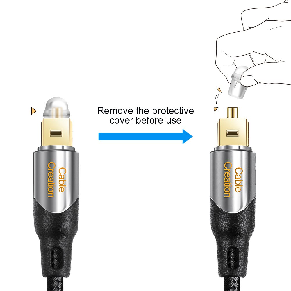 Black /& Silver//3M CableCreation 10 Feet Toslink Male to Mini Toslink Male Digital S//PDIF Audio Optical Fiber Cable 24K Gold Plated for Chromecast Audio Mac Pro/&More iMac