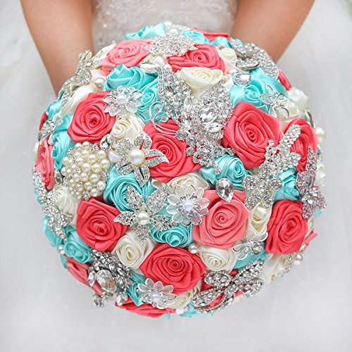 IFFO DIY brooch bouquet Silk Bride Bridal Wedding Bouquet Bridesmaid mint turquoise & Coral ivory Ribbon roses Customizable bouquets (Flower Coral Turquoise)