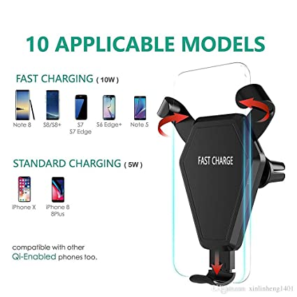 Amazon.com: Qi - Cargador rápido inalámbrico para coche para ...