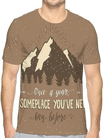 Amazon.com: Short Sleeve T-Shirt Mountain Forest Hand ...