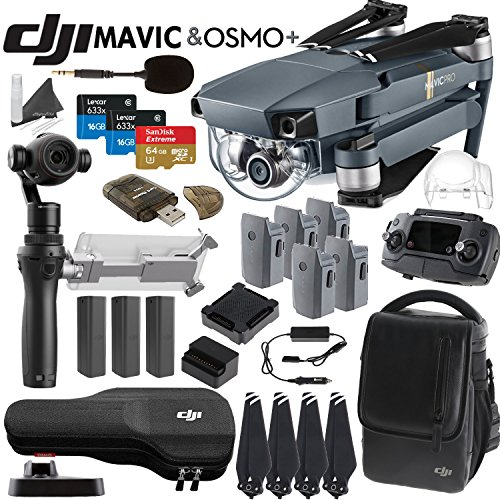 DJI-Mavic-Pro-Collapsible-Quadcopter-Osmo-Plus-Combo-Includes-3-Osmo-Batteries-DJI-Shoulder-Bag-5-Mavic-Batteries-Car-Charger-Charging-Hub-SanDisk-64GB-MicroSD-Cards-and-more