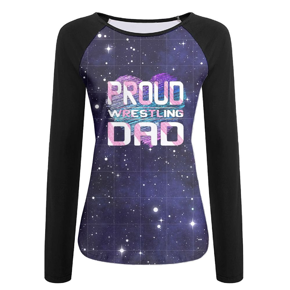Proud Wrestling Dad Women's Crew Neck Long Sleeve Raglan T-Shirts M