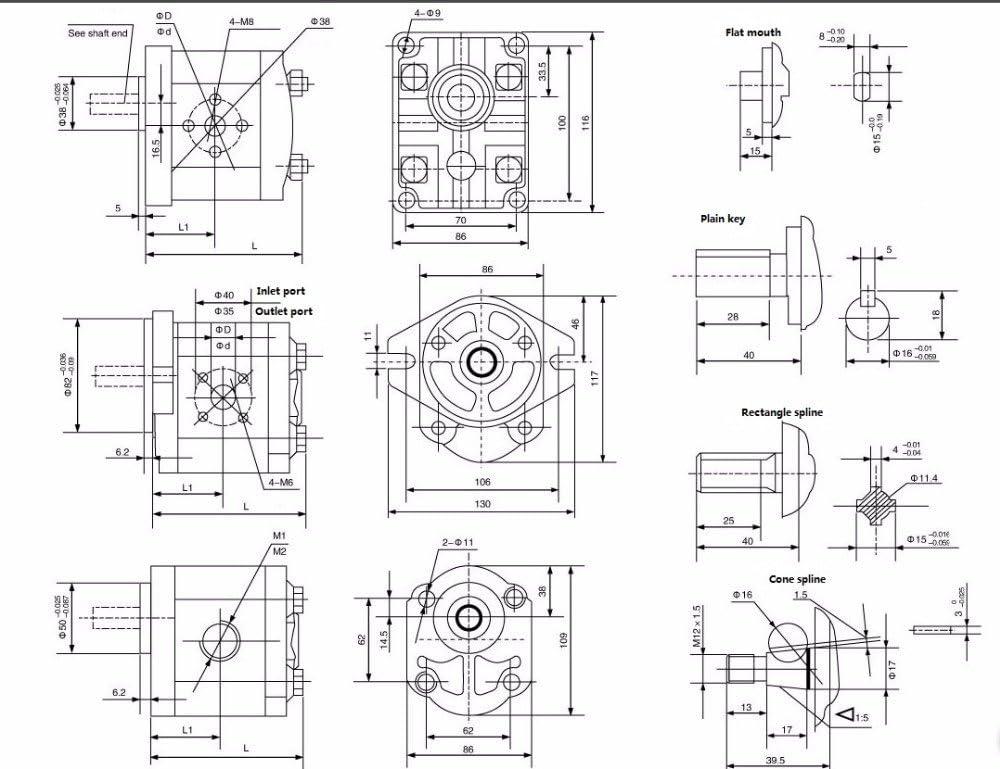 TIMEWAY Hydraulic Oil Gear Pump CBN F Type High Pressure 20Mpa~25Mpa Aluminum Body Keyed Shaft CW Rotation CBN-F306-FPR