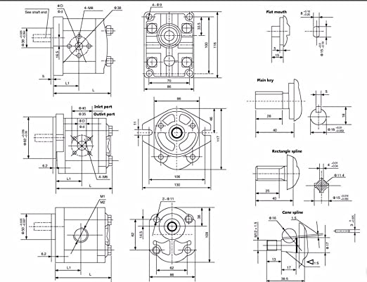 CBN Series Hydraulic Gear Oil Pump CBN-E318-FHL CBN-E320-FHL CBN-E325-FHL Four Tooth Rectangle Spline High Pressure Aluminium Alloy Pump for Tractor Parts CBN-E325-FHL