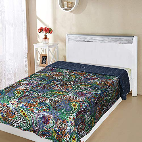 rajwada-fashion Multicolor Paisley Printed Kantha Quilt, Twin Size Kantha Bedding, Indian Cotton Bedspread, Bohemian Kantha Throw, Floral Bed Cover 60X90 Inches (Paisely Design3) (Bedding Paisely)