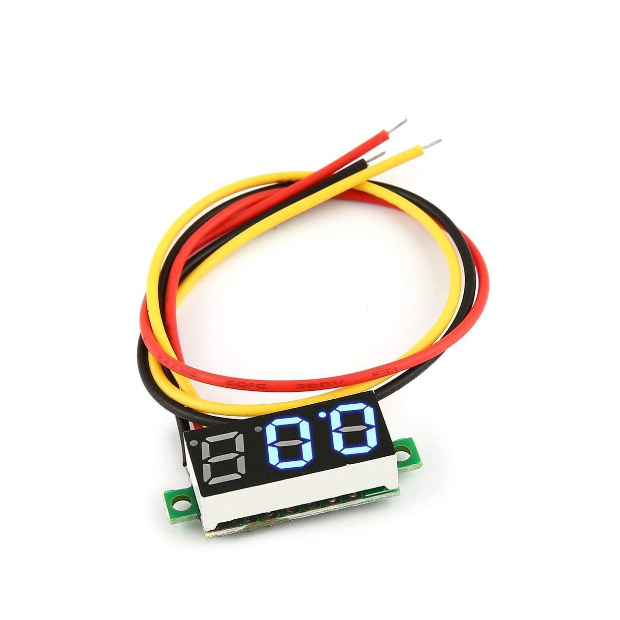 Lorenlli 0-100V 0.28in 3 Wire LED Digital Display Panel Voltmeter Electric Voltage Meter Volt Tester for Auto Battery Car Motorcycle