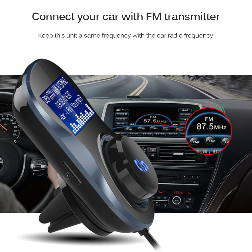 Support TF Card Mp3 Player ONEVER Bluetooth FM Transmitter Bluetooth Car Adapter Wireless in-Car Bluetooth Receiver Hands-Free Car Charger with Dual USB Ports and 1.4 LCD Display