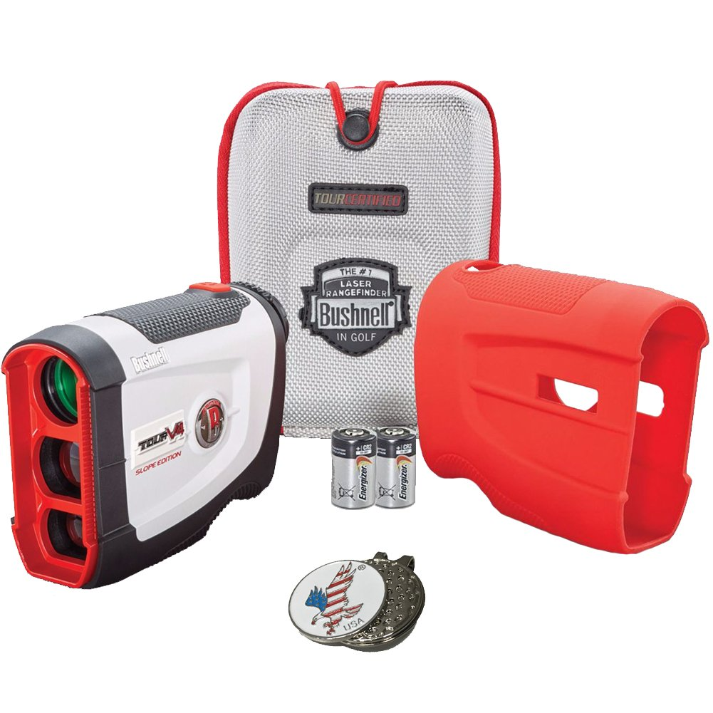 Bushnell 2017 Tour V4 Shift Slope Edition Patriot Pack Golf Laser Rangefinder + 2(two) CR2 Battery + 1 Custom Ball Marker Clip Set (American Eagle) + Red Silicon Skin by Bushnell (Image #1)