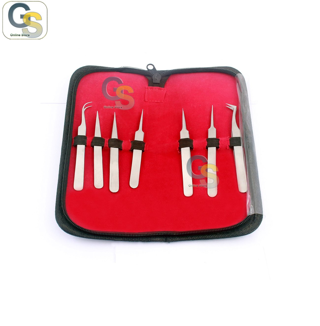 G.S SET OF 7PC PRECISION STAINLESS STEEL TWEEZERS FORCEPS - ELECTRONICS, BEADING, HOBBY BEST QUALITY